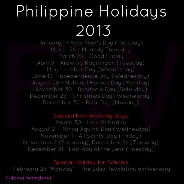 Philippine Holidays 2013