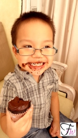 With Aidan. The real cupcake monster! Sooo cute!